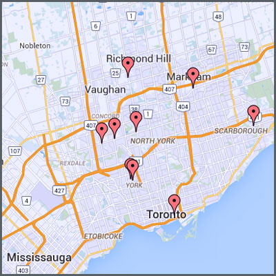 Map of JVS Toronto locations across the Greater Toronto Area