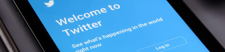 Twitter welcome page displayed on a tablet