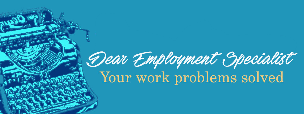 """Drawing of a typewriter with the words """"Dear Employment Specialist"""""""