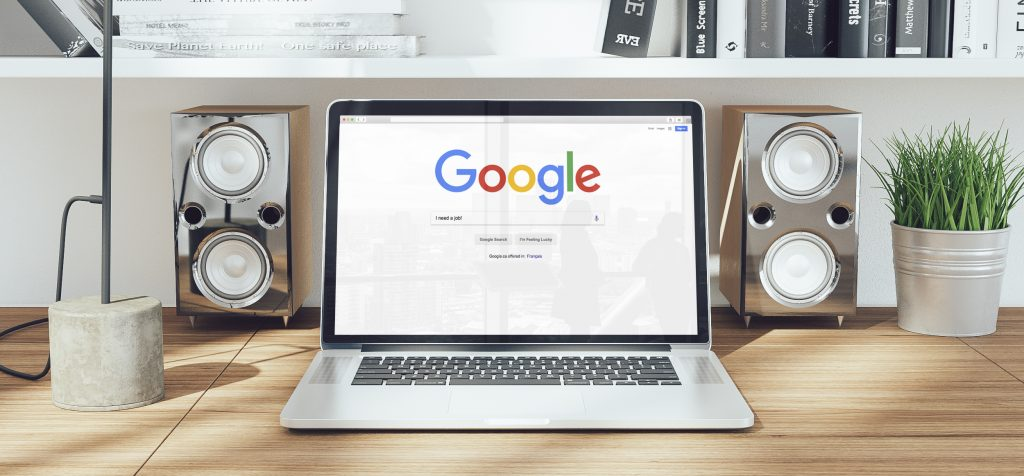 google home page on a laptop screen