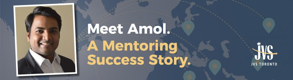 """Photo of Amol with text """"Meet Amol. A mentoring Success Story"""""""
