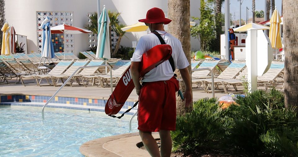 Life guard at a pool