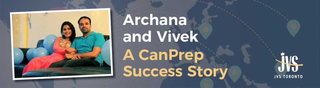 """Photo of Archana and Vivek with text """"A CanPrep Success Story"""""""