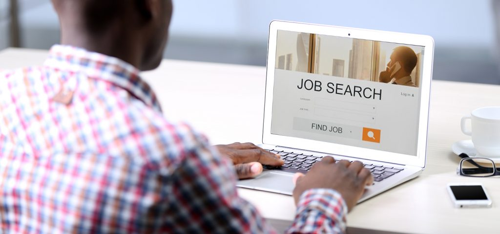 man conducting a job search online