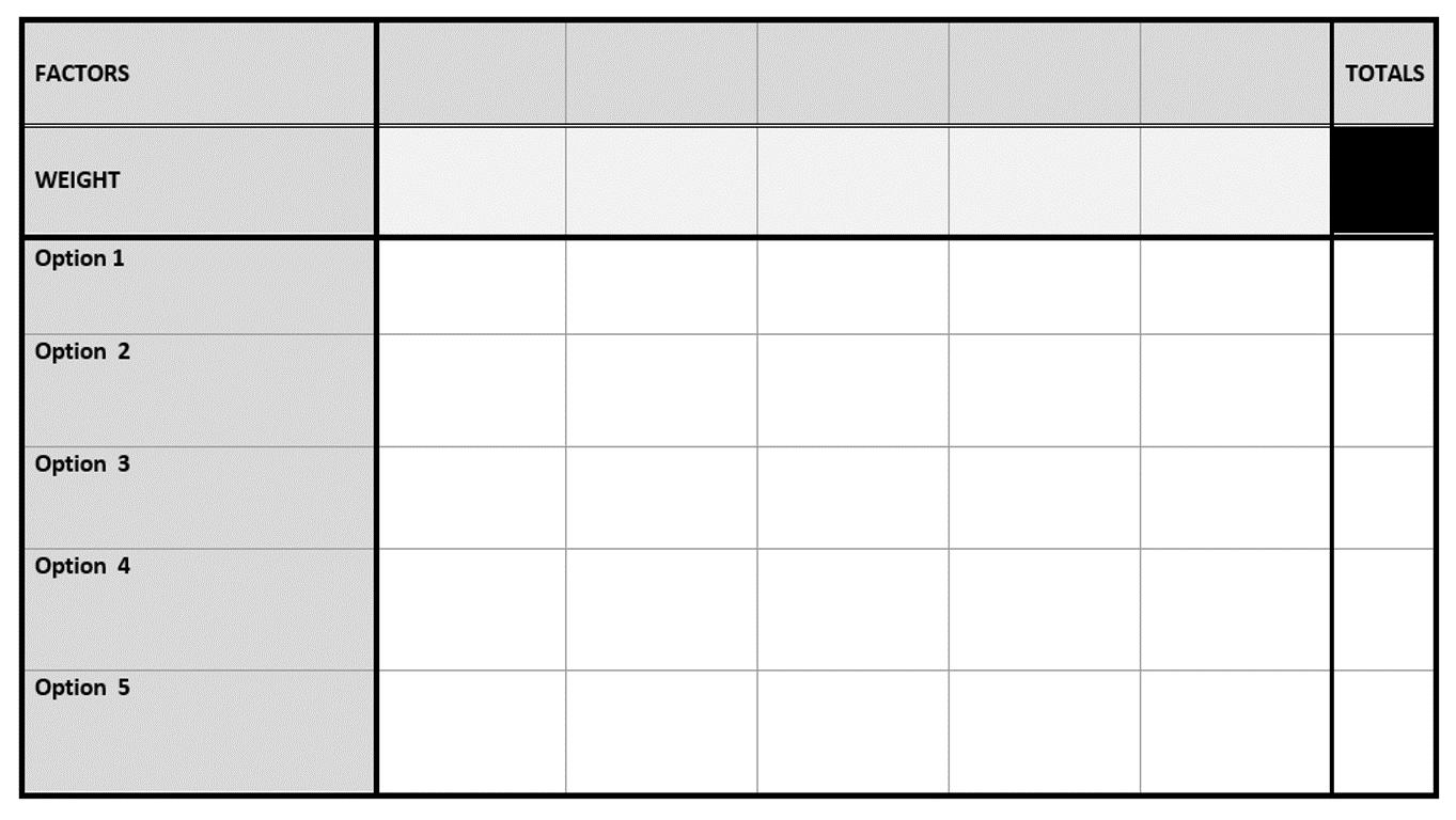 Blank matrix