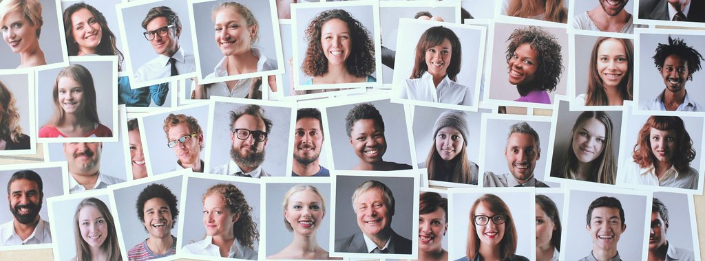 Photographs of diverse group of happy people
