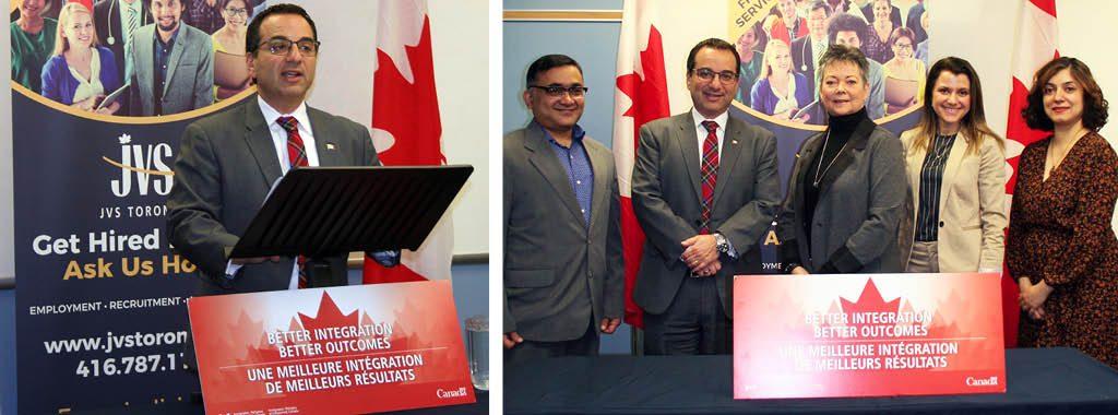 Left: Michael Levitt - MP. Right: Prabhas Jha - Board of Directors at JVS Toronto, Michael Levitt - MP, Kim Coulter - CEO & President at JVS Toronto, Irene Vaksman - Director of Newcomer Services at JVS Toronto, and Sharvari Jois - Manager of Canada InfoNet at JVS Toronto.