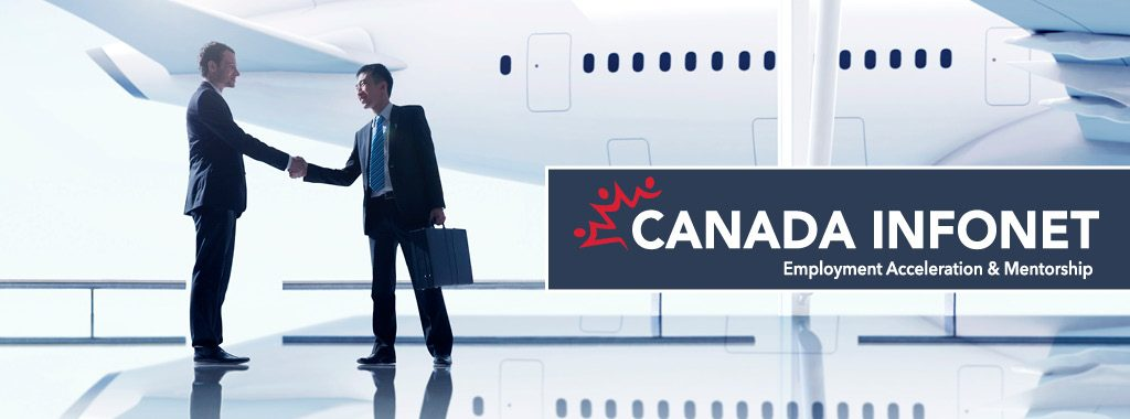 Two business men shaking hands after one just got off a plane with Canada InfoNet logo