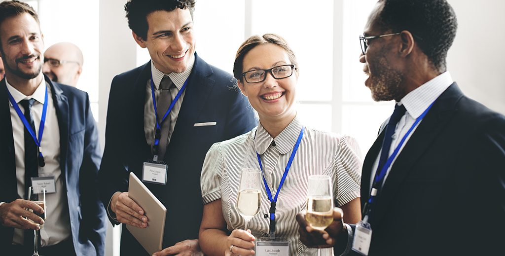 Business people chatting during a networking event