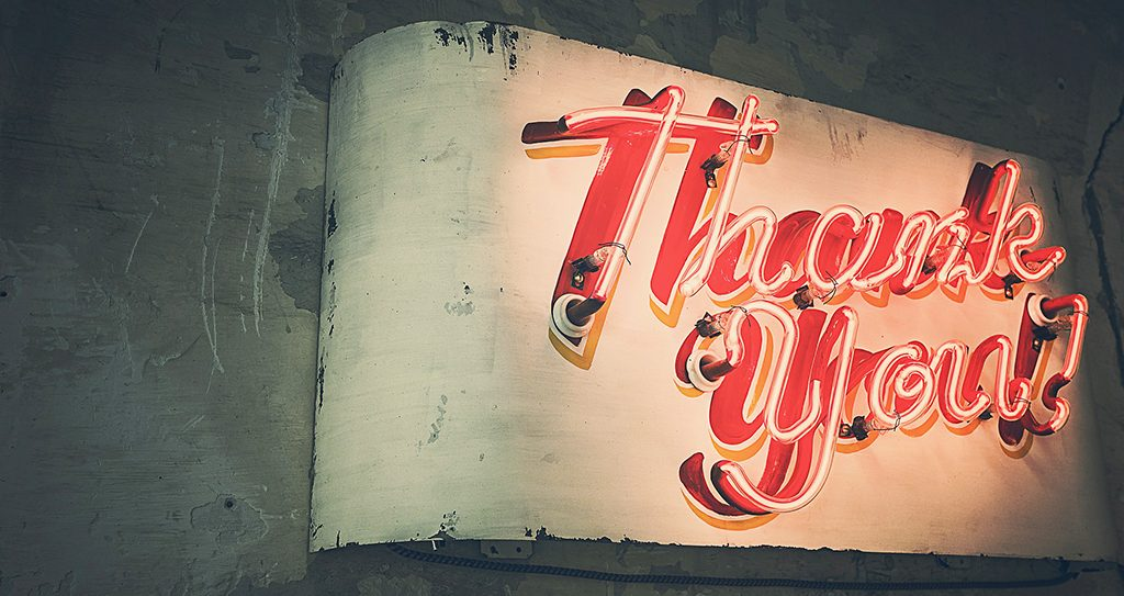 Neon sign reading Thank You