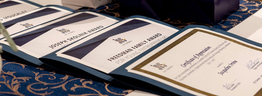 Close up view of award certificates