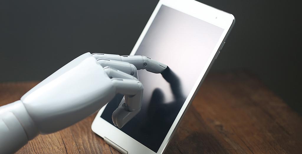 AI robot operates tablet