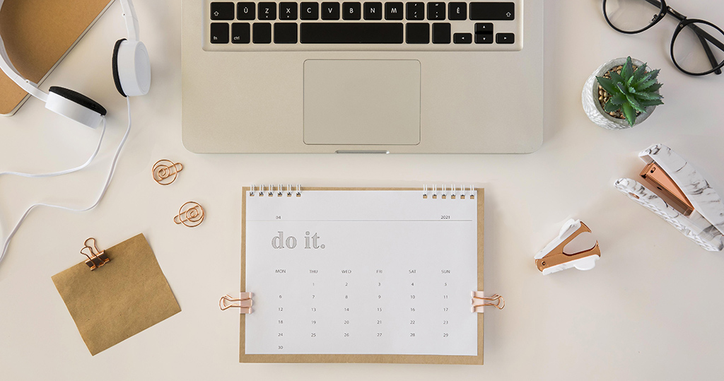 Calendar, laptop and other organization tools