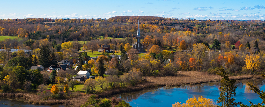Autumn view over Westport Ontario in Canada.