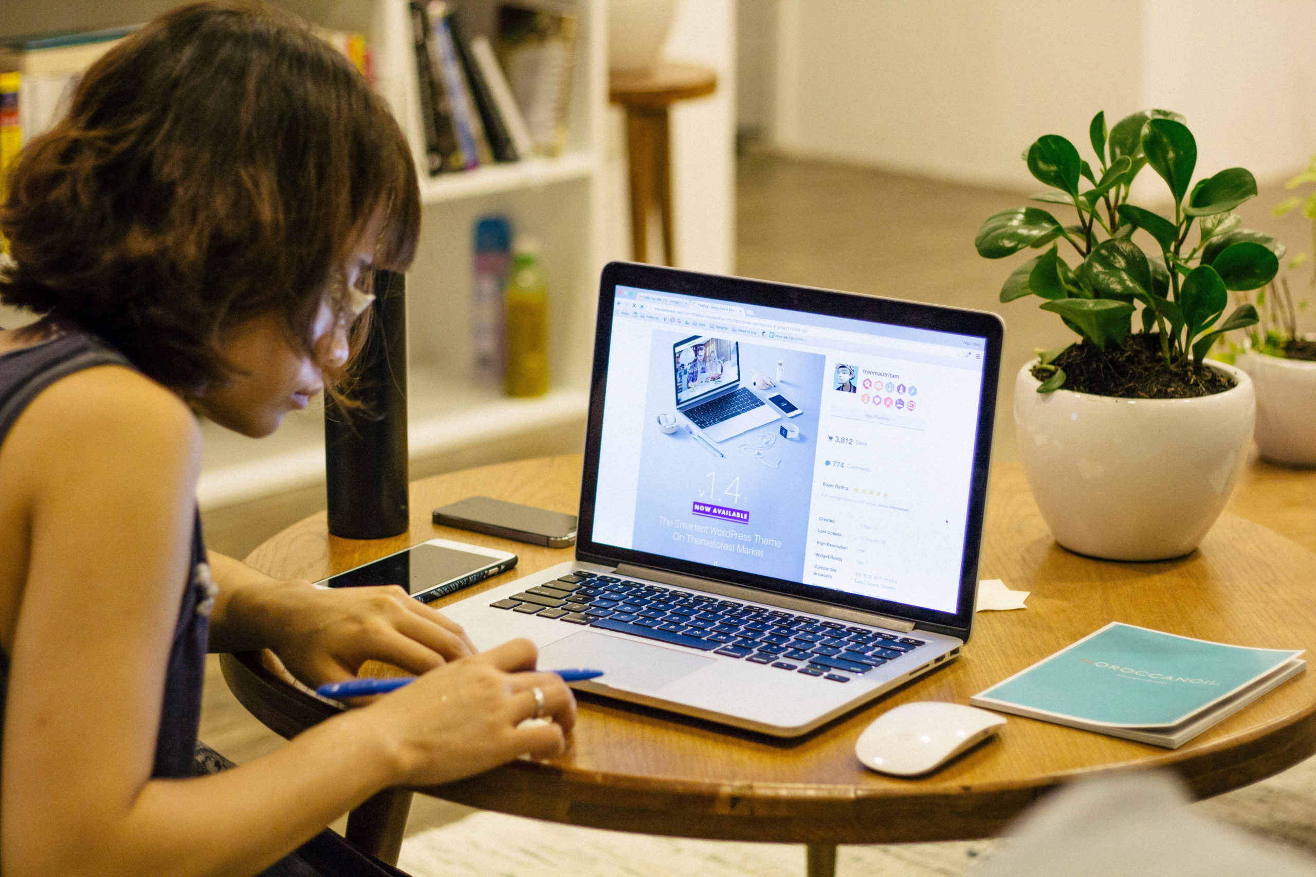Woman working remotely in her home