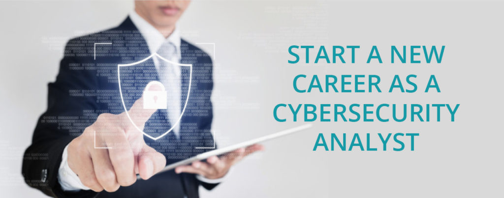 """Asian man using a tablet with text """"Start a new career as a Cybersecurity Analyst"""""""