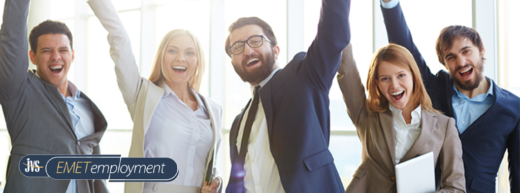 Group of business people cheering with their arms in the air.